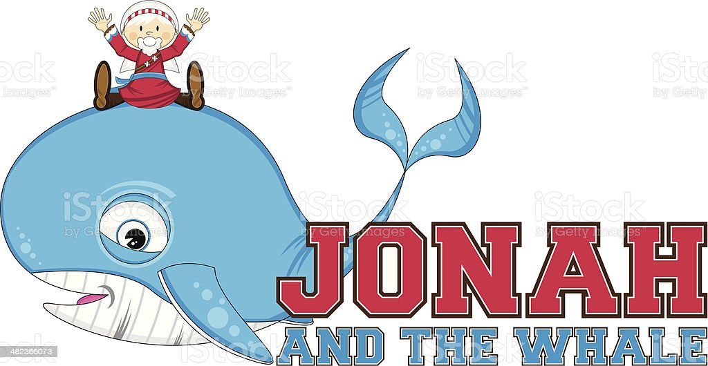 Jonah and the Whale Illustration royalty-free stock vector art
