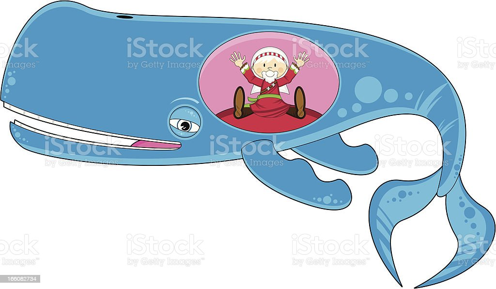 Jonah inside the Whale royalty-free stock vector art