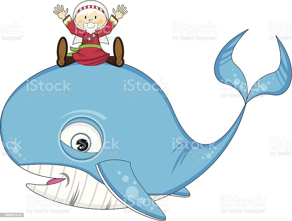 Jonah Sitting on Whale royalty-free stock vector art
