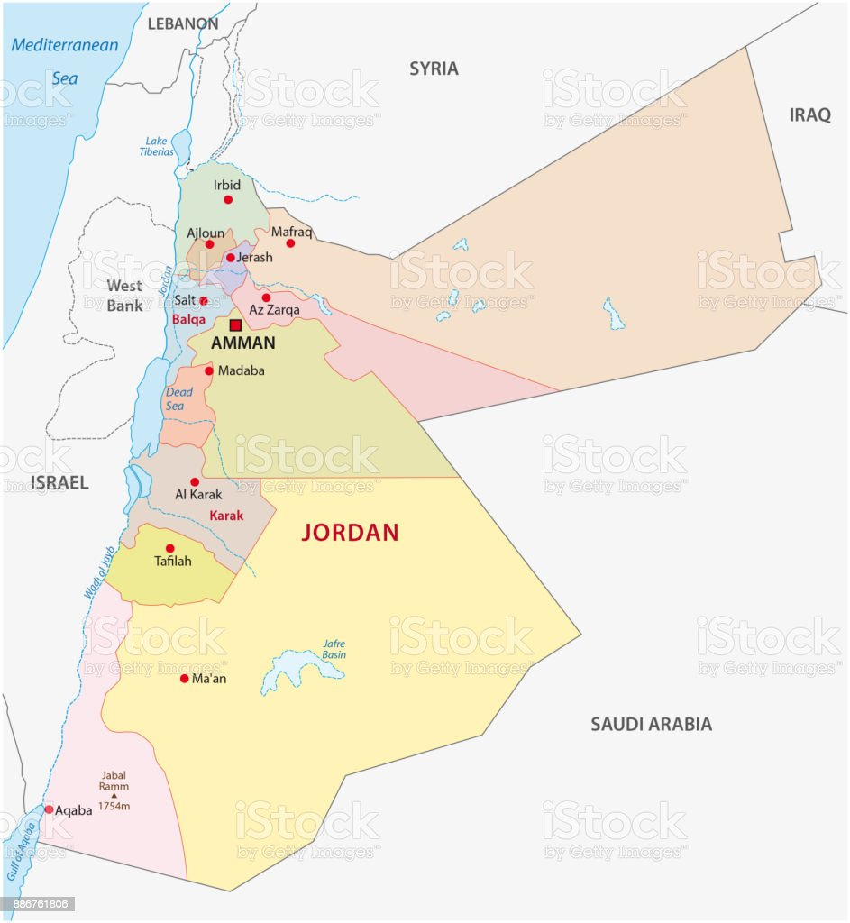 Political Map Of Jordan.Jordan Administrative And Political Map Stock Vector Art More