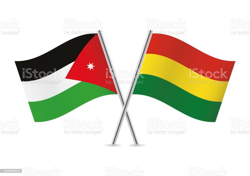 Banderas de Bolivia y Jordania. Ilustración de vector. - ilustración de arte vectorial