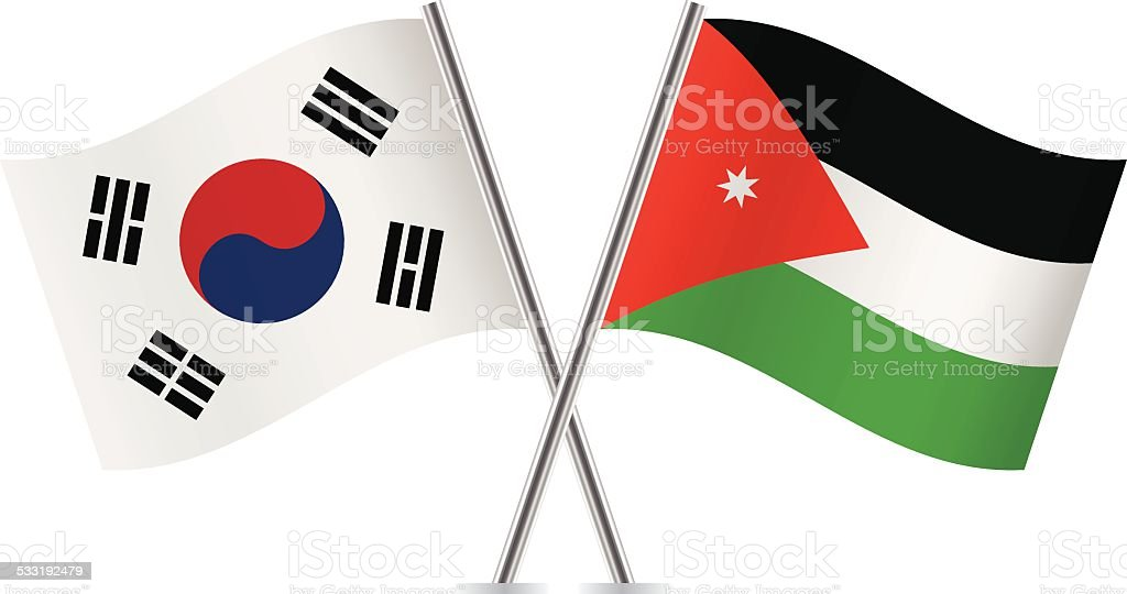Jordan and South Korea flags. Vector. vector art illustration