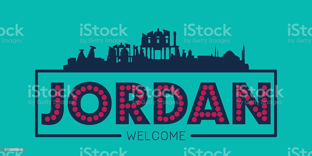 Jordan city skyline silhouette vector art illustration
