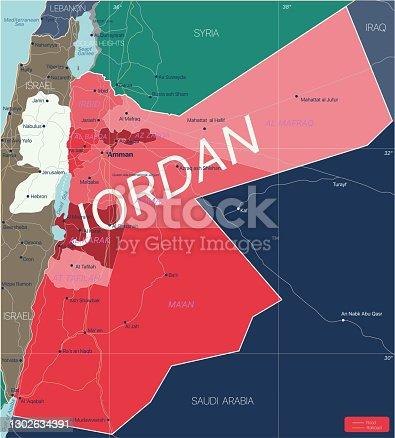 Jordan country detailed editable map