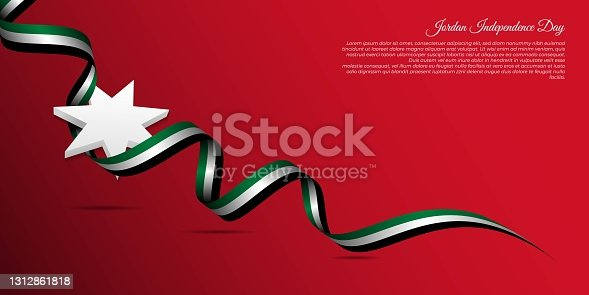 istock Jordan Independence Day background design. jordan red background with star and flying ribbon 1312861818