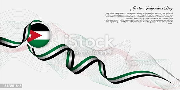 istock Jordan Independence Day background design. jordan red background with emblem flag and flying ribbon 1312861848
