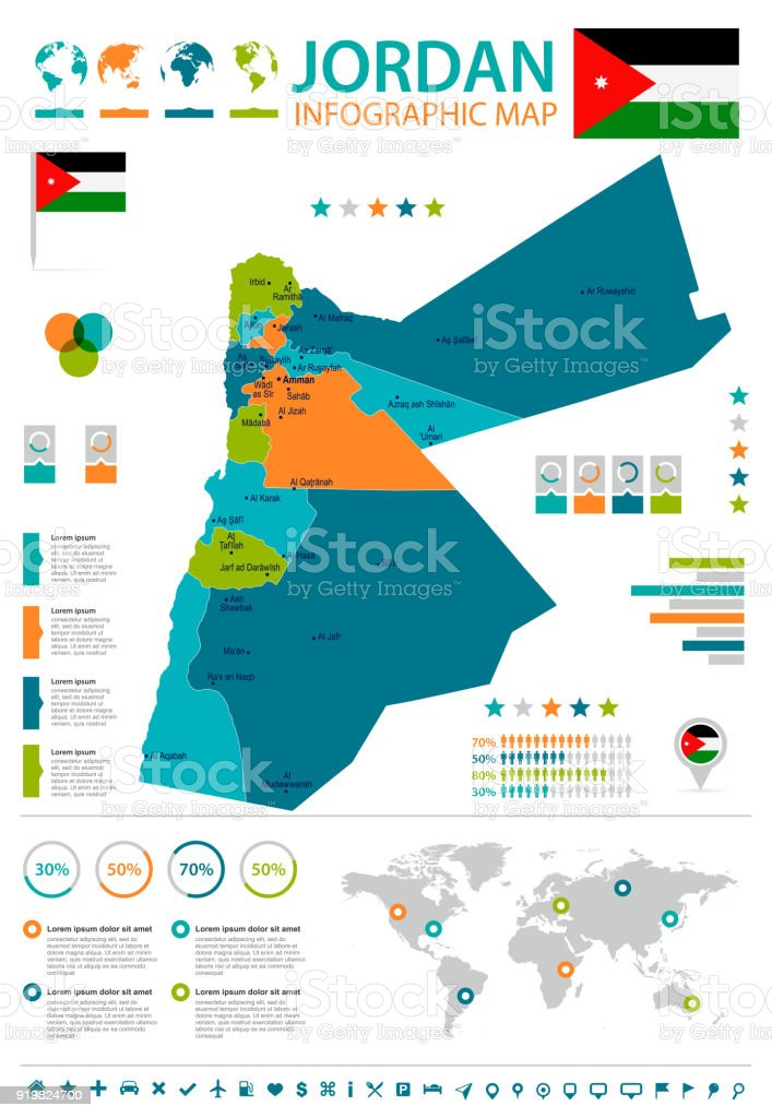 Jordan infographic map and flag detailed vector illustration stock jordan infographic map and flag detailed vector illustration royalty free jordan infographic map gumiabroncs Gallery