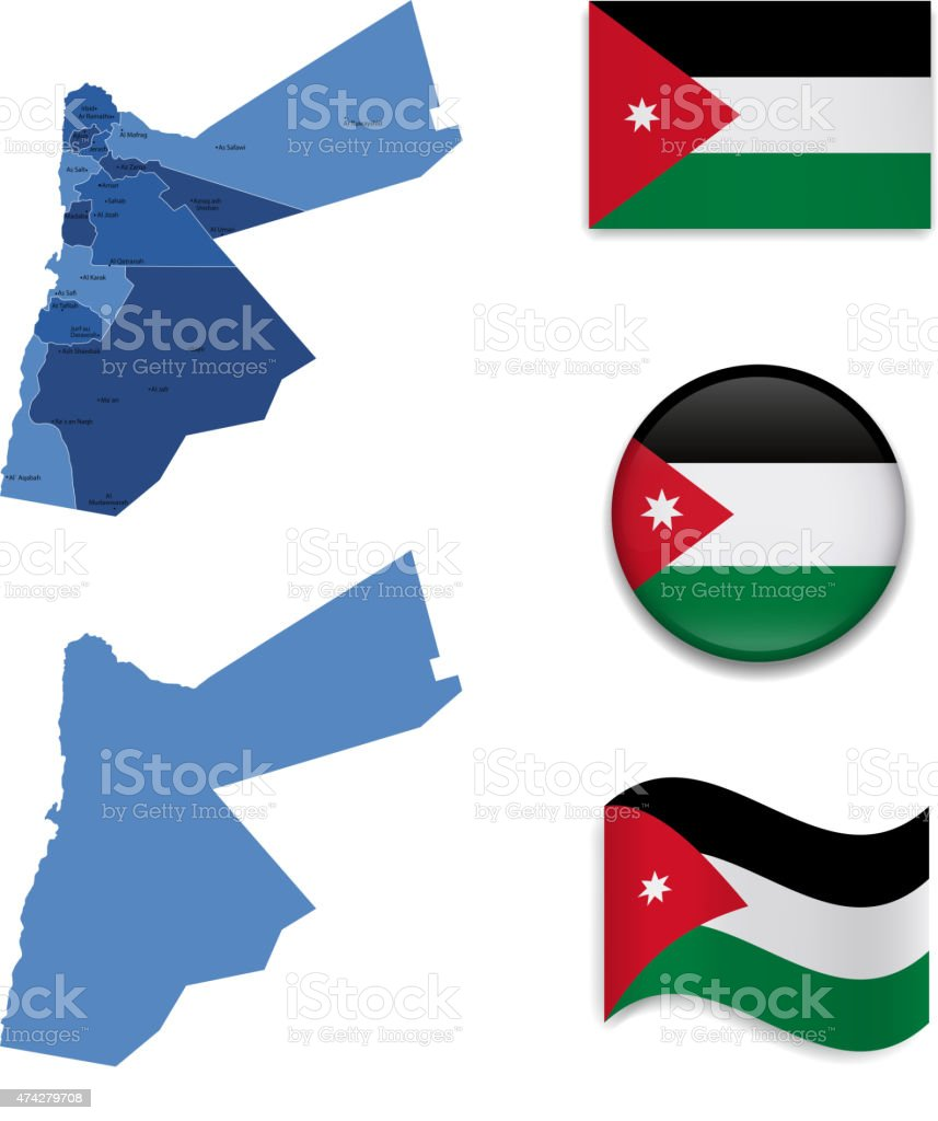 Jordan Map and Flag Collection vector art illustration