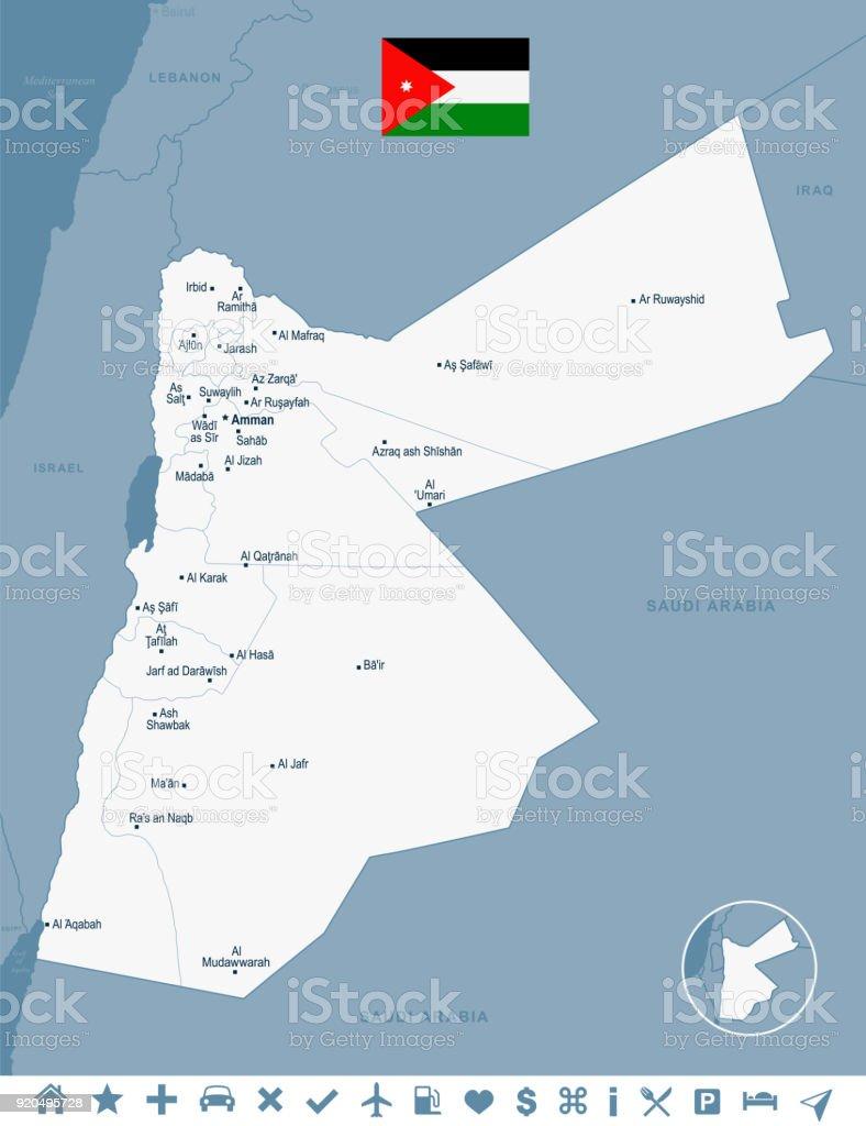 Jordanien Karte.Jordanien Karte Und Flagge Detaillierte Vektorillustration Stock