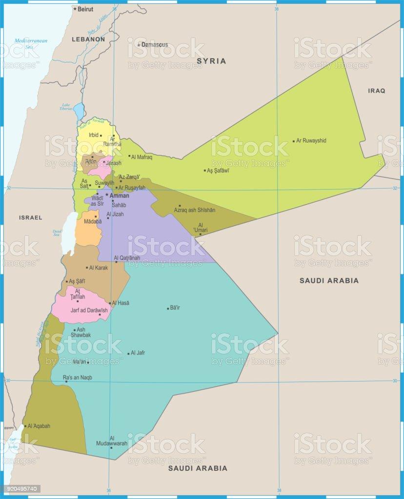Jordan Map Detailed Vector Illustration Stock Vector Art More