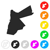 Jordan map - Flat icons on different color buttons