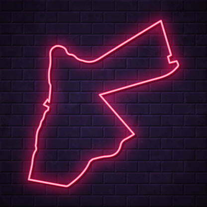Map of Jordan in a realistic neon sign style. The map is created with a pink glowing neon light on a dark brick wall. Modern and trendy illustration with beautiful bright colors. Vector Illustration (EPS10, well layered and grouped). Easy to edit, manipulate, resize or colorize.