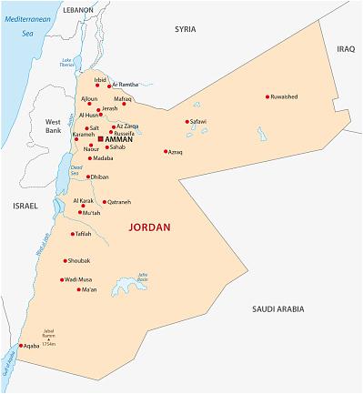 Jordanien Karte.Jordanien Karte Stock Vektor Art Und Mehr Bilder Von Abstrakt