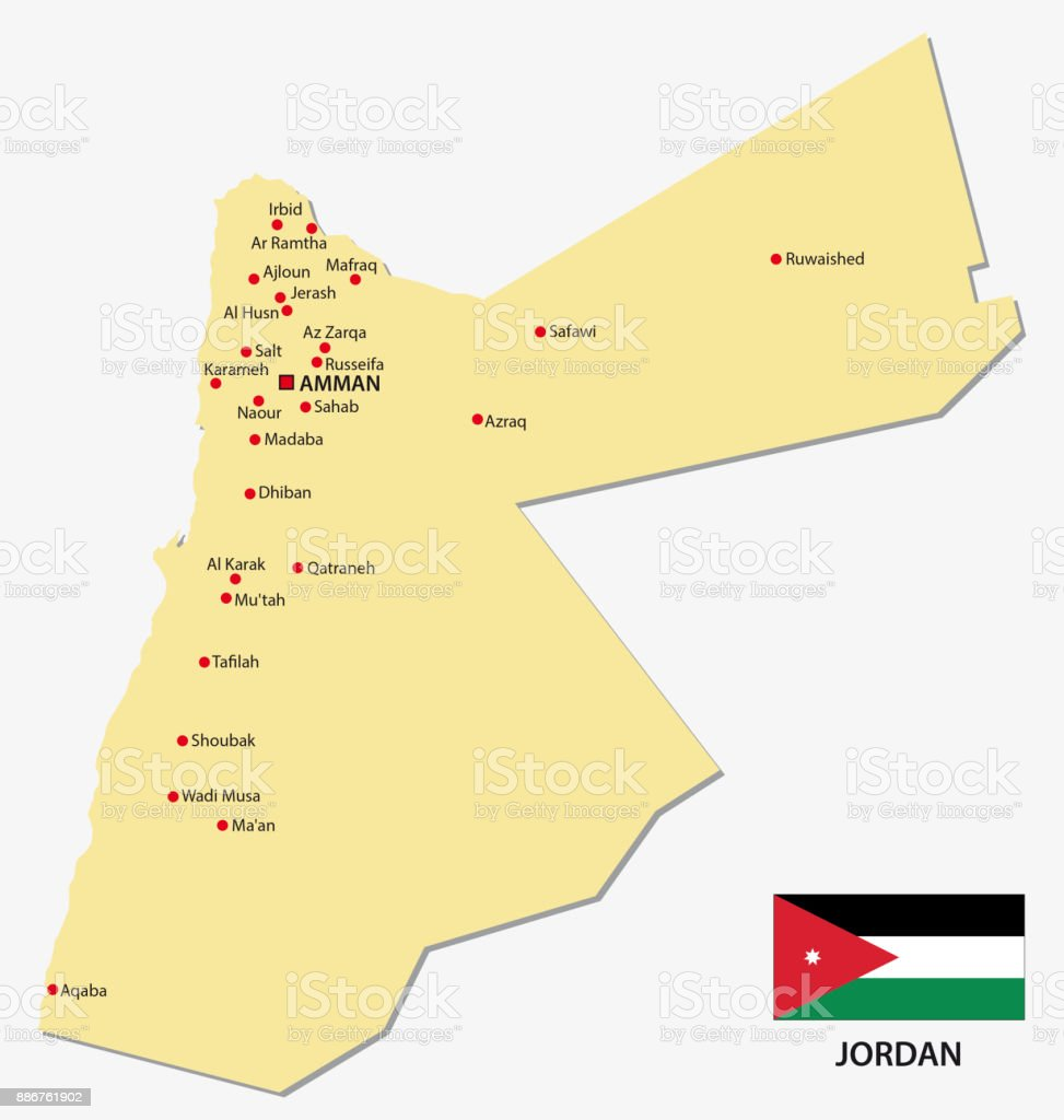 Jordan Map With Flag Stock Vector Art & More Images Of