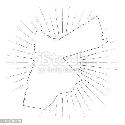 Map of Jordan created with a thin black outline and  light rays. Trendy and modern illustraion isolated on a blank background. Vector Illustration (EPS10, well layered and grouped). Easy to edit, manipulate, resize or colorize.