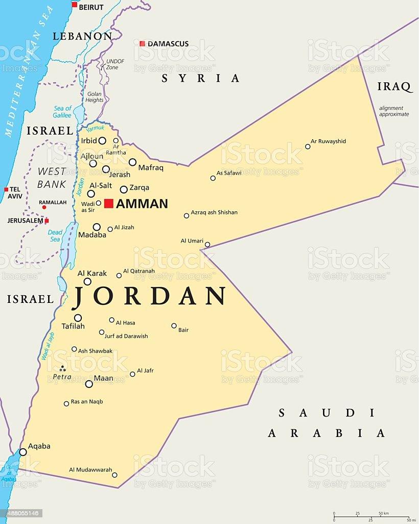 Jordan Political Map Stock Vector Art IStock - Map of jordan