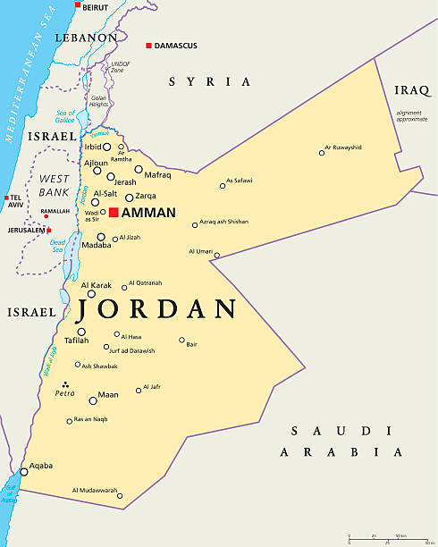 ilustraciones, imágenes clip art, dibujos animados e iconos de stock de jordan mapa político - mapa de oriente medio