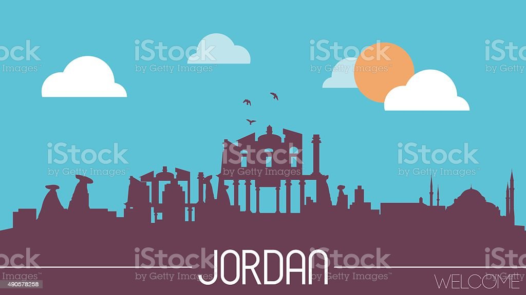 Jordan skyline silhouette vector art illustration