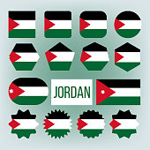 Jordan Various Shapes Vector National Flags Set