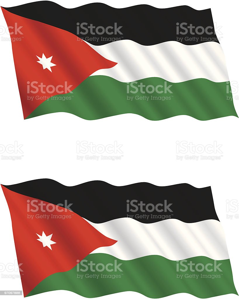 Jordanian Flag Flying in the Wind royalty-free stock vector art