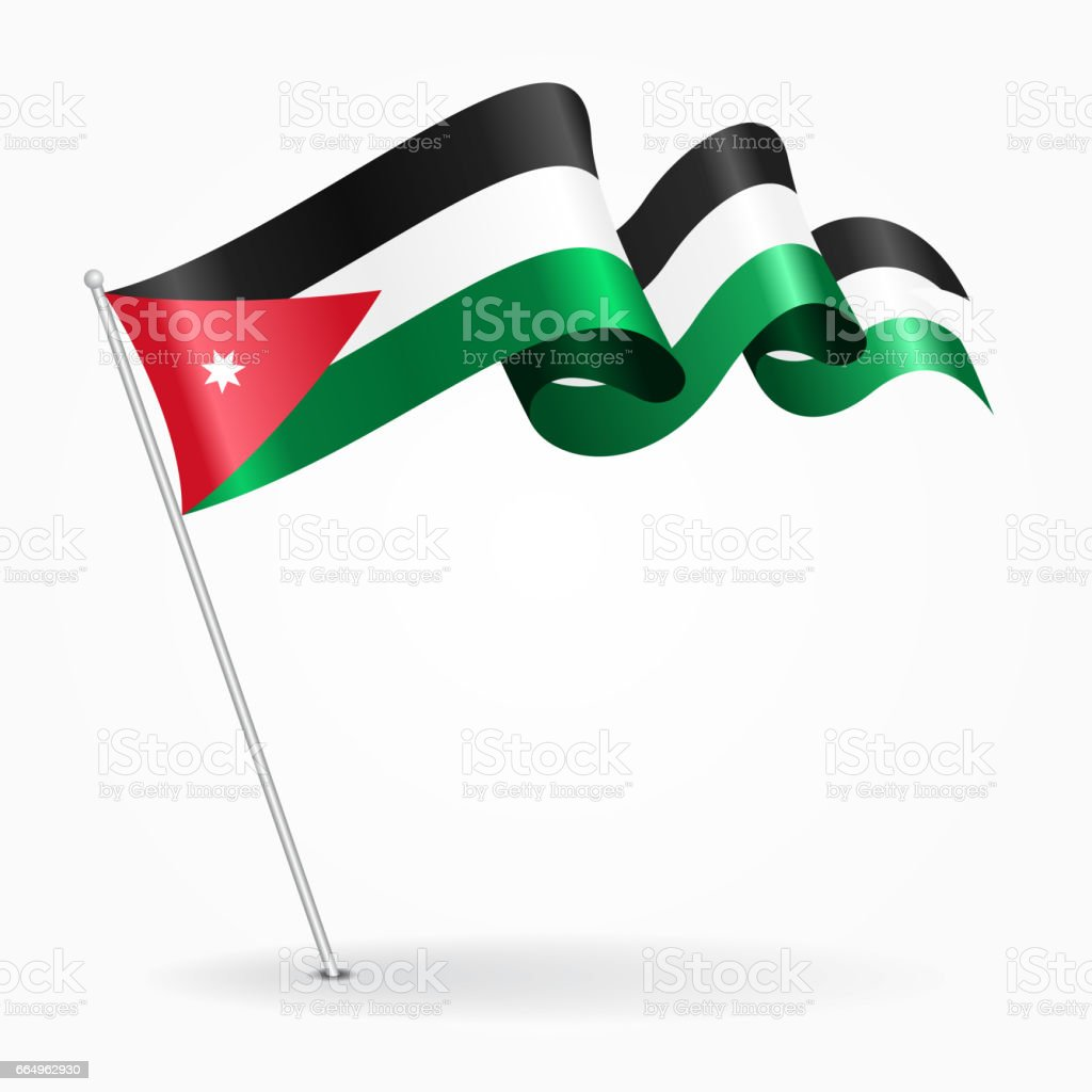 Jordanian pin wavy flag. Vector illustration. vector art illustration