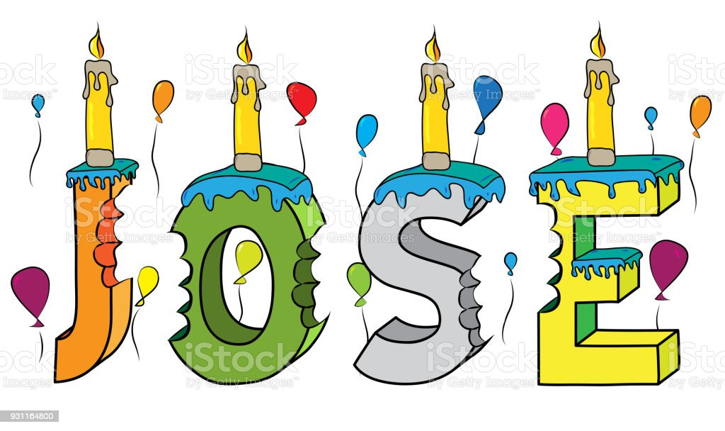 Jose Male First Name Bitten Colorful 3d Lettering Birthday Cake With Candles And Balloons Stock Illustration Download Image Now