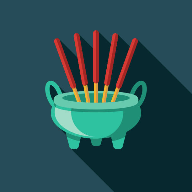 Joss Flat Design China Icon A China themed icon. File is built in the CMYK color space for optimal printing, and can easily be converted to RGB. Color swatches are global for quick and easy color changes throughout the entire set of icons. incense stock illustrations