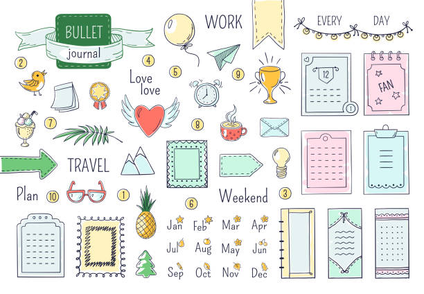 bildbanksillustrationer, clip art samt tecknat material och ikoner med journal handritade element. doodle kulor, färg antecknings bok schema kalender dagbok linje klotter element. vektor doodle ramar - balpress