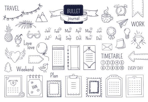 bildbanksillustrationer, clip art samt tecknat material och ikoner med journal handritade element. notebook doodle kulor, schema kalender dagbok skiss linje element. vektor doodle kula - balpress