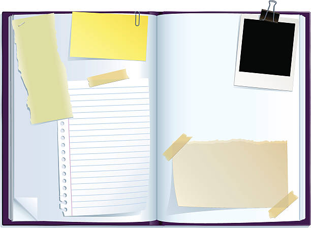 journal spread Open notepad with papers clipping on it. extreme close up stock illustrations