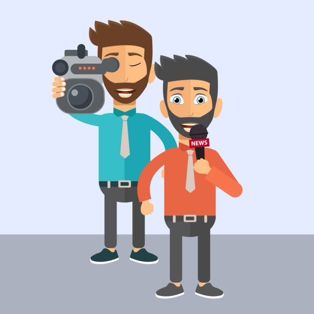 stockillustraties, clipart, cartoons en iconen met journalistiek en persconferentie concept. journalist en nieuws verslaggever. platte vectorillustratie - journalist