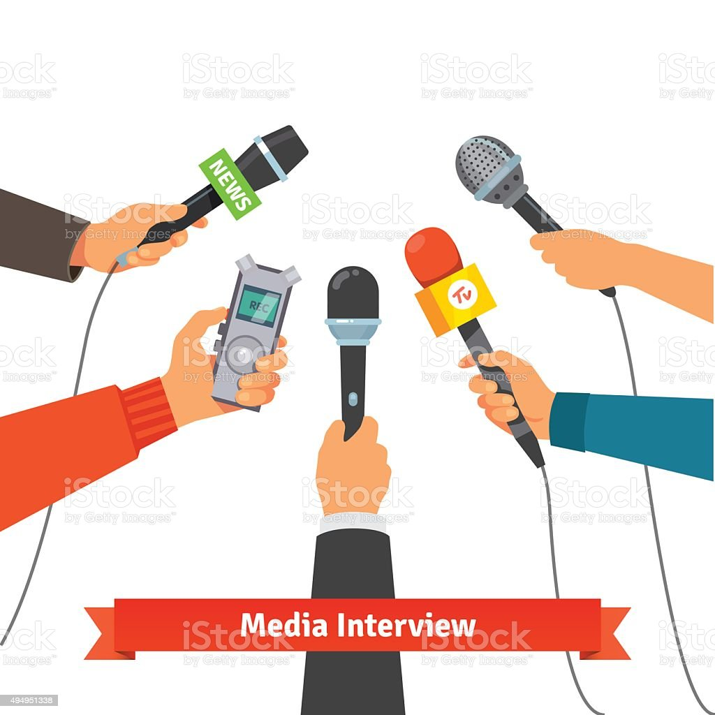 Journalism concept. Microphones and voice recorder vector art illustration