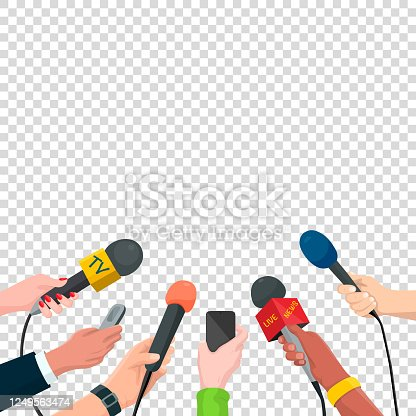 Journalism Concept Vector Illustration in Cartoon Style. Set of Hands Holding Microphones and Voice Recorders. Hot News Template, Isolated on Transparent Background.