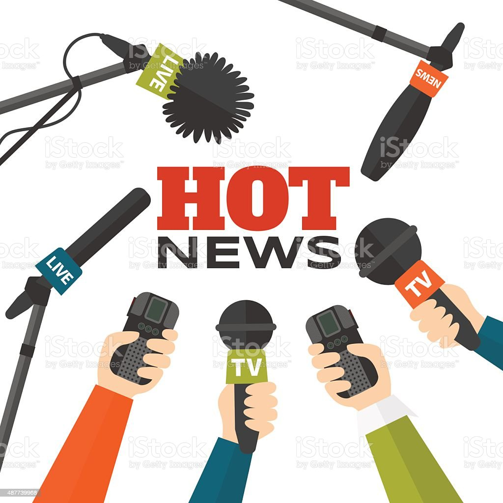 Journalism concept vector illustration in flat style. Hot news vector art illustration