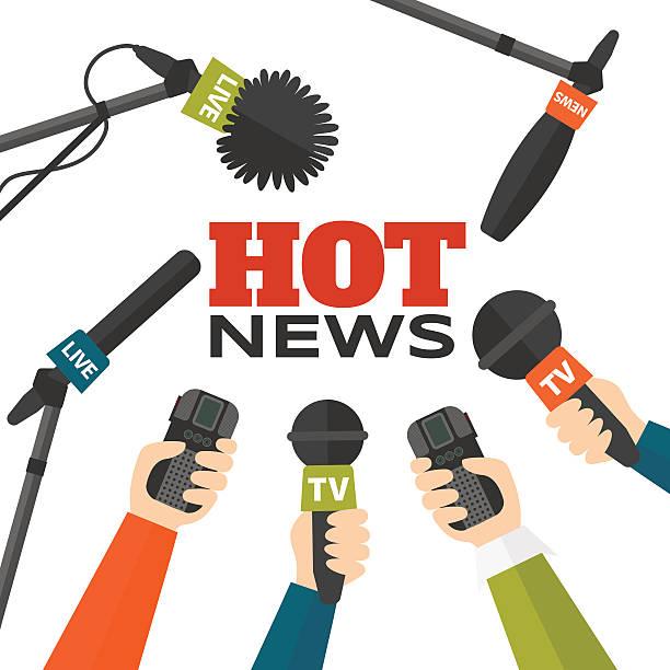 illustrations, cliparts, dessins animés et icônes de journalisme concept illustration vectorielle en style plat. hot actualités - interview