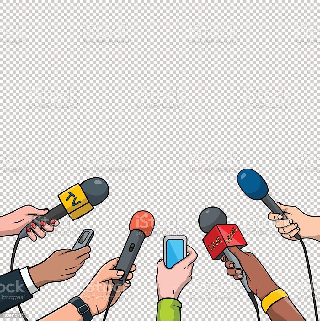 Journalism concept vector illustration in pop art comic style. Set vector art illustration