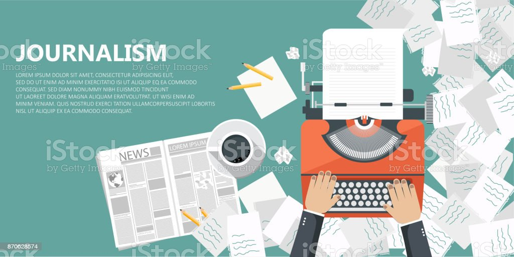 Journalismus flach Banner. Ausrüstung für Journalisten auf Schreibtisch. Flache Vektor-illustration – Vektorgrafik