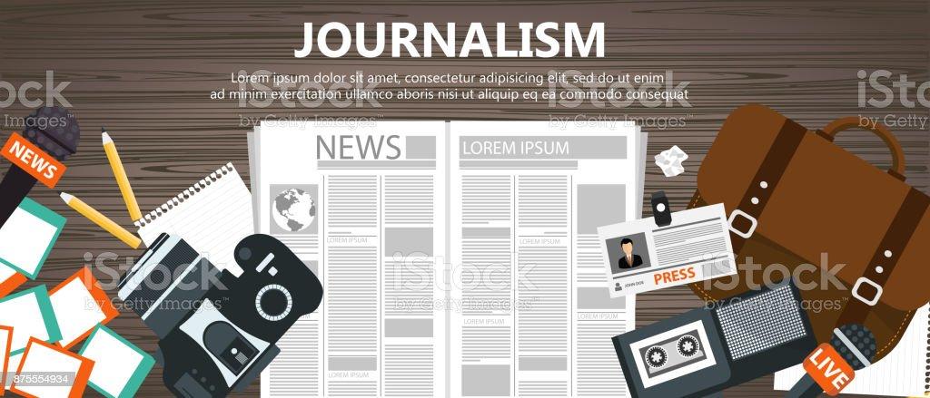 Plana bandera de periodismo. Equipo para periodista de escritorio. Ilustración de vector plano - ilustración de arte vectorial
