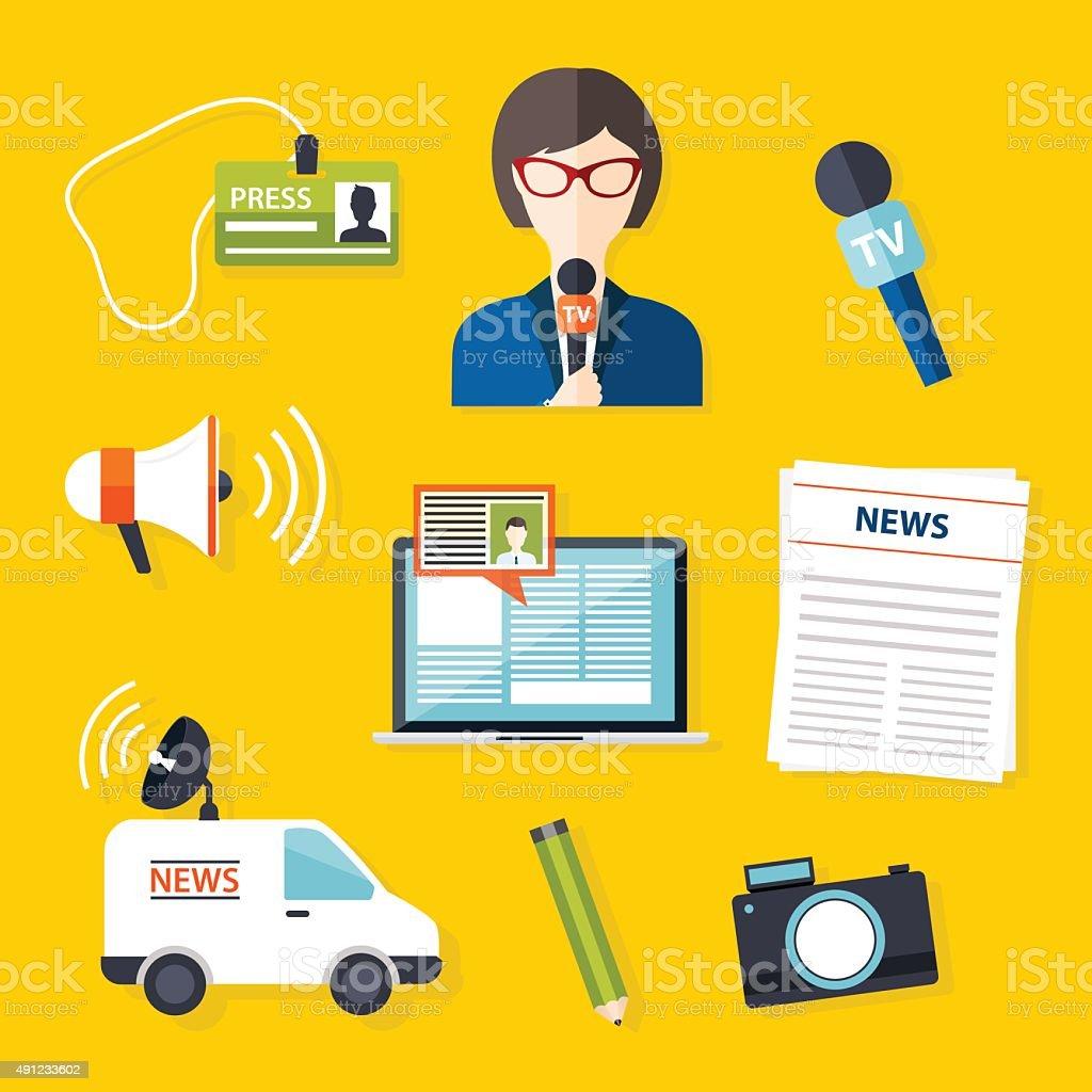 Journalism press news reporter. Set of vector journalism icons i vector art illustration