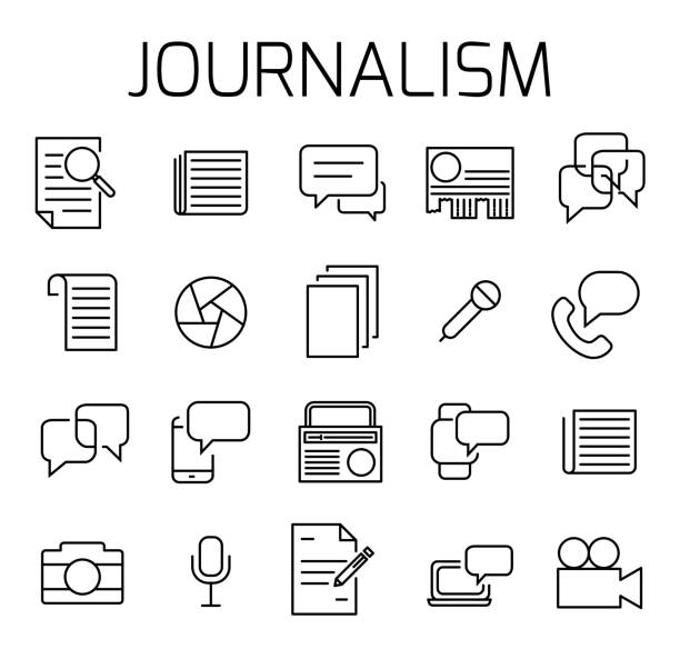 stockillustraties, clipart, cartoons en iconen met journalistiek gerelateerde vector icon set. - perskamer