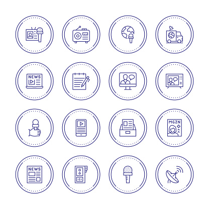 Journalism Thin Line Icons