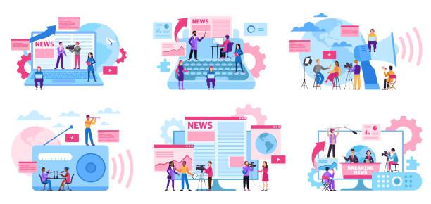 stockillustraties, clipart, cartoons en iconen met journalist concept. massamedia-beroep, internet-en radio journalistiek, digitale tv. interview opname met cameraman vectorset - journalist