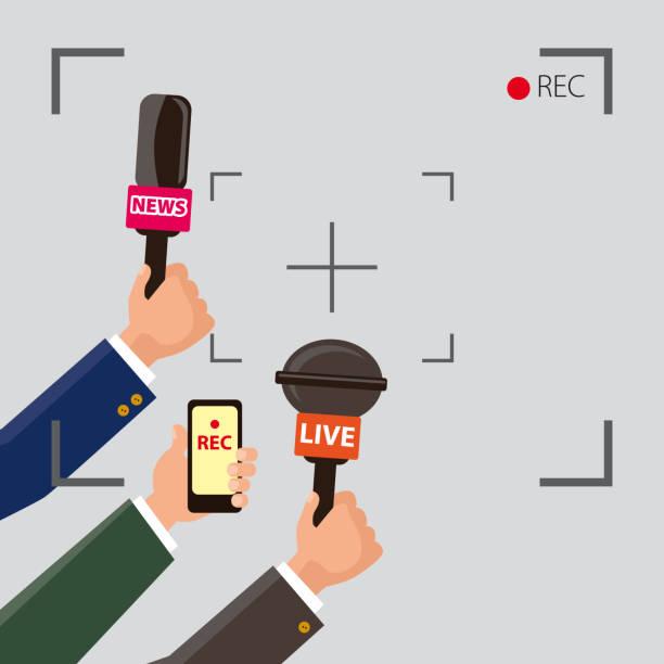illustrations, cliparts, dessins animés et icônes de les intervieweurs journaliste vector illustration - interview