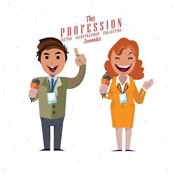 stockillustraties, clipart, cartoons en iconen met journalist - vector illustration - journaal presentator