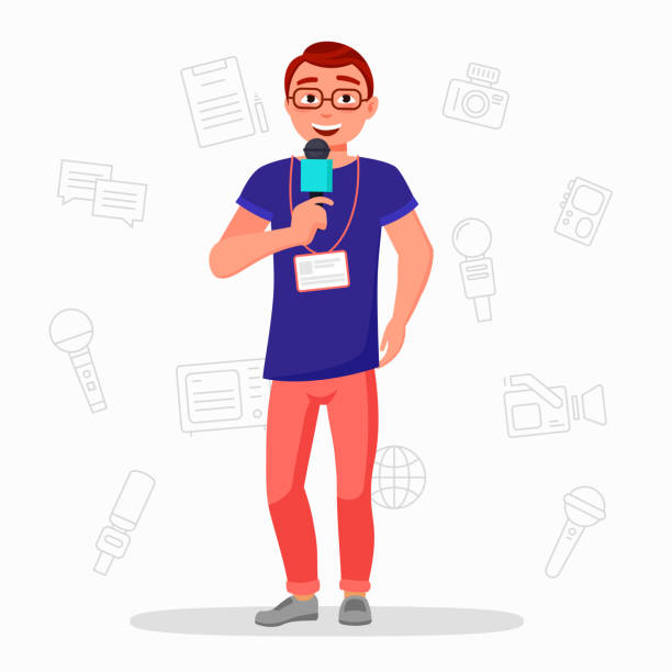 Journalist with microphone vector flat illustration . News reporter isolater on white background. Media news broadcasting. Presentation new product. Speach on a scene. News Corespondent. TV presenter. vector art illustration