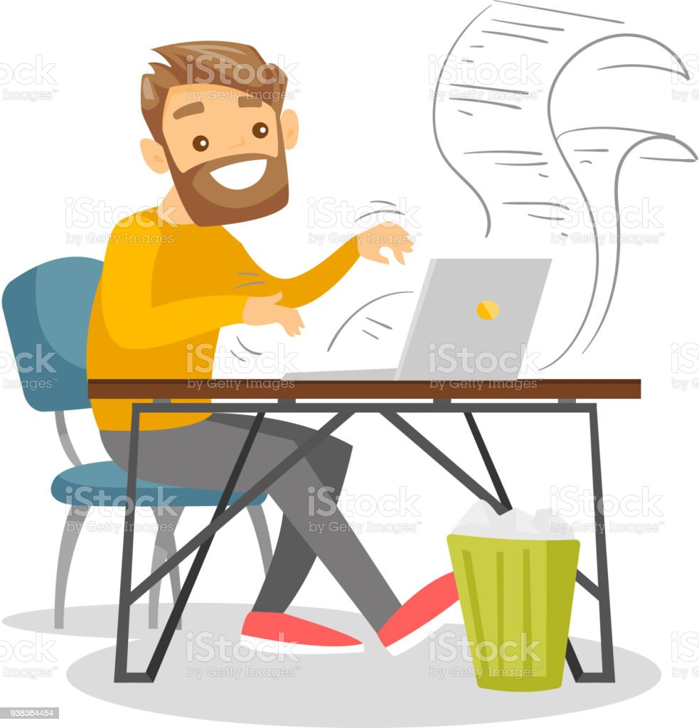 Journalist working on retro typewriter vector art illustration