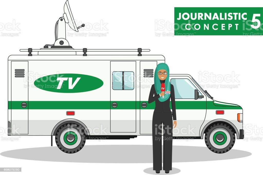 Journalistic concept. Detailed illustration of muslim woman reporter and TV or news car in flat style on white background. Vector illustration. royalty-free journalistic concept detailed illustration of muslim woman reporter and tv or news car in flat style on white background vector illustration stock vector art & more images of adult