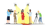 Journalists interviewing movie star, actor, celebrity flat illustration. Paparazzi, reporters, correspondents isolated cartoon characters. Mass media, press, television industry. Reportage, interview