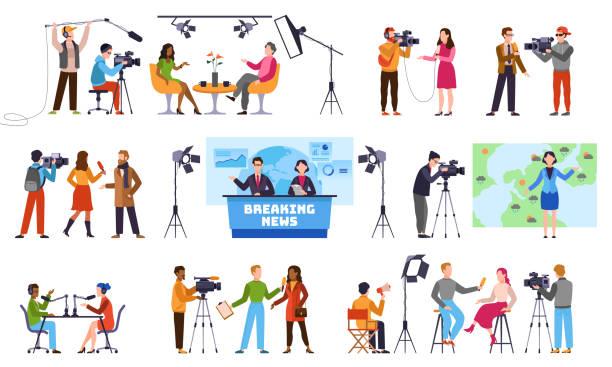 journalisten. newscaster und journalistenberuf, medienaufzeichnung. fernsehindustrie. presseinterview mit kameramann-vektorfiguren - film oder fernsehvorführung stock-grafiken, -clipart, -cartoons und -symbole