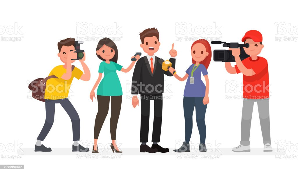 Journalists of news channels and radio stations are take interviewed. Characters videographer and photographer vector art illustration